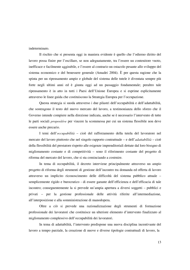 Anteprima della tesi: Riforma ''Biagi''. Titolo V. Tipologie contrattuali a orario ridotto, modulato o flessibile: lavoro intermittente, ripartito e a tempo parziale., Pagina 7