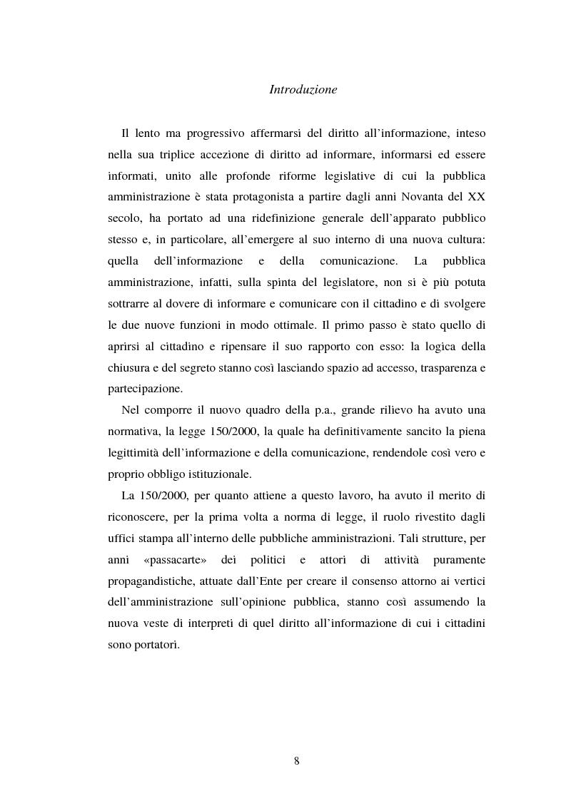 Anteprima della tesi: Gli uffici stampa delle pubbliche amministrazioni, Pagina 1