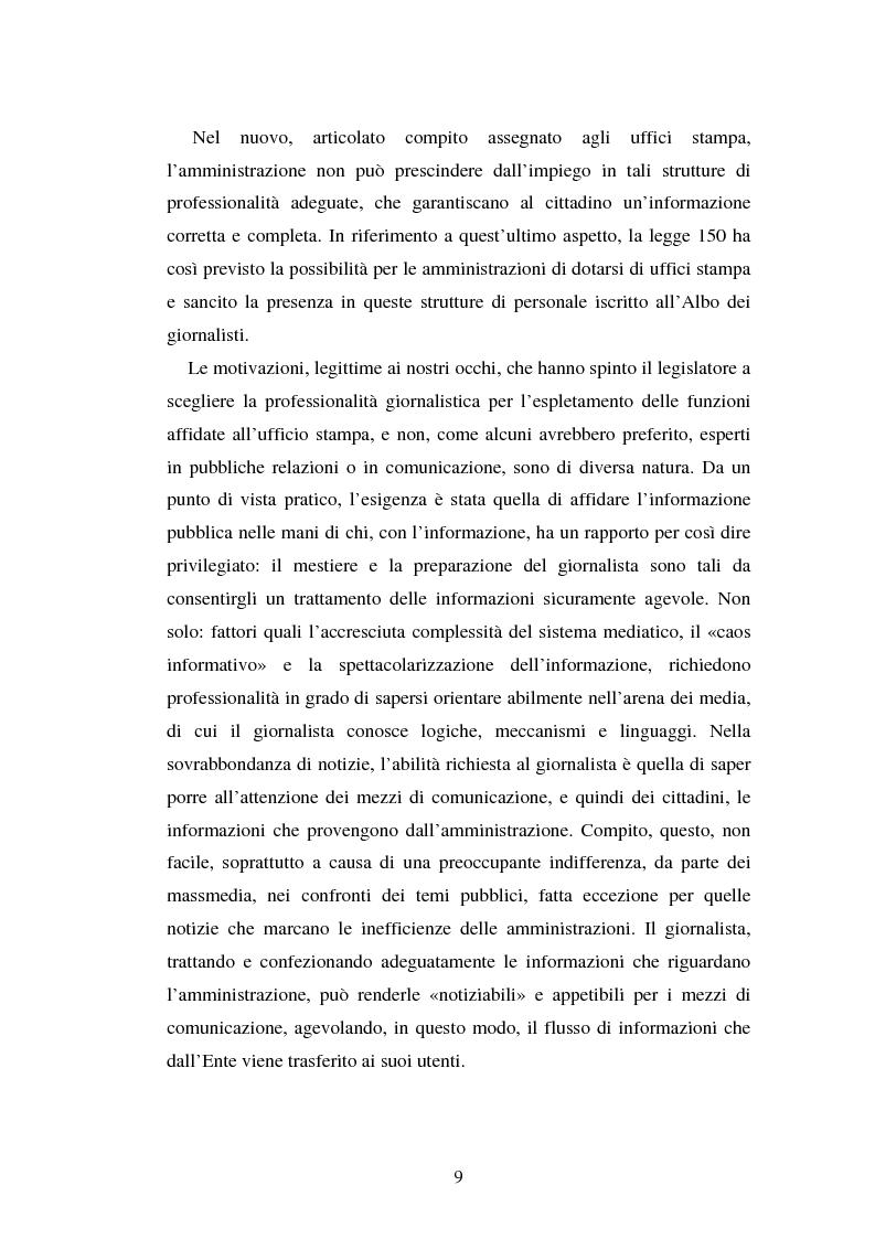 Anteprima della tesi: Gli uffici stampa delle pubbliche amministrazioni, Pagina 2