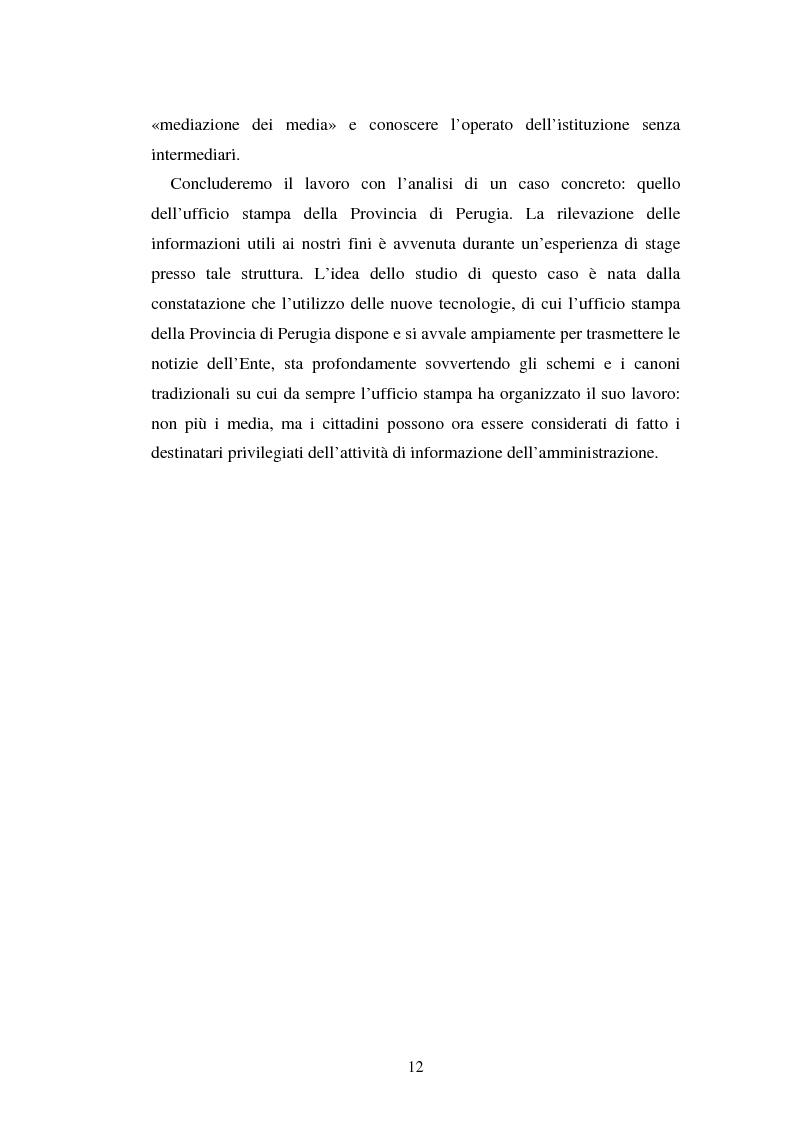 Anteprima della tesi: Gli uffici stampa delle pubbliche amministrazioni, Pagina 5