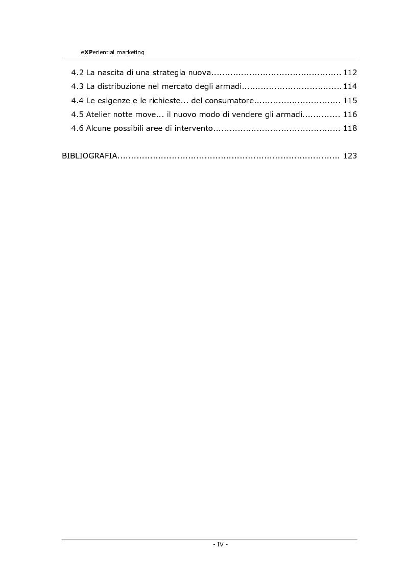 Indice della tesi: Experiential marketing. Un'esperienza nel settore dell'arredamento., Pagina 4