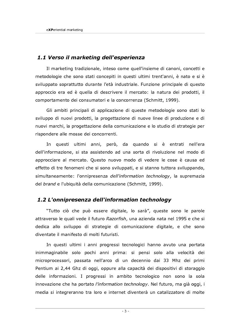 Anteprima della tesi: Experiential marketing. Un'esperienza nel settore dell'arredamento., Pagina 1