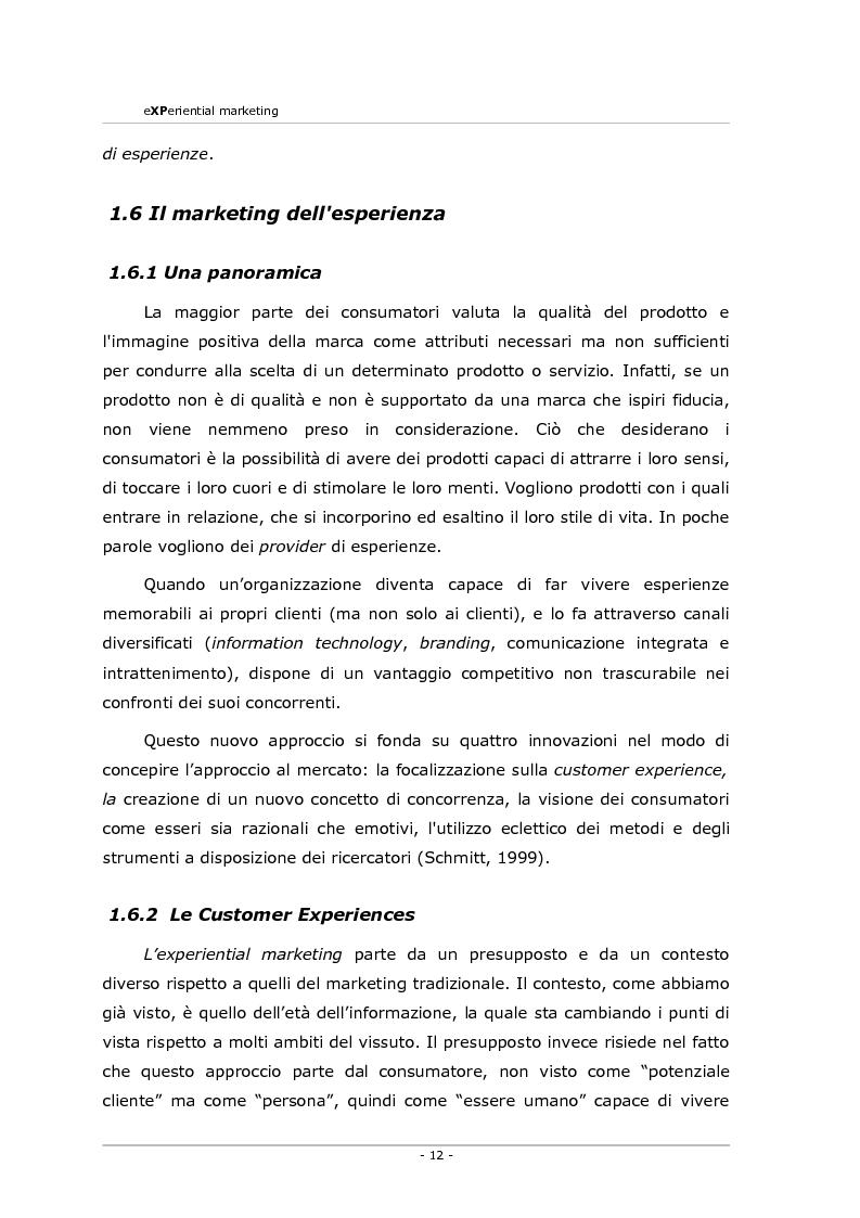 Anteprima della tesi: Experiential marketing. Un'esperienza nel settore dell'arredamento., Pagina 10