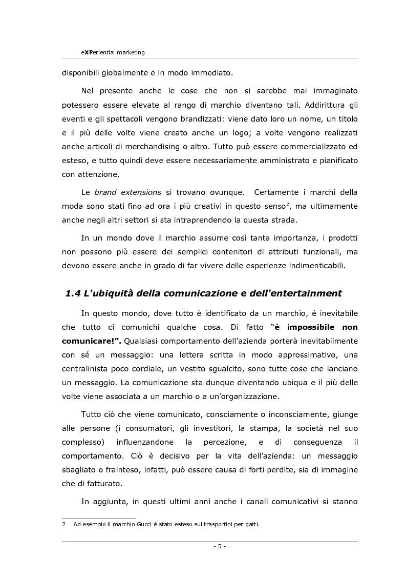 Anteprima della tesi: Experiential marketing. Un'esperienza nel settore dell'arredamento., Pagina 3
