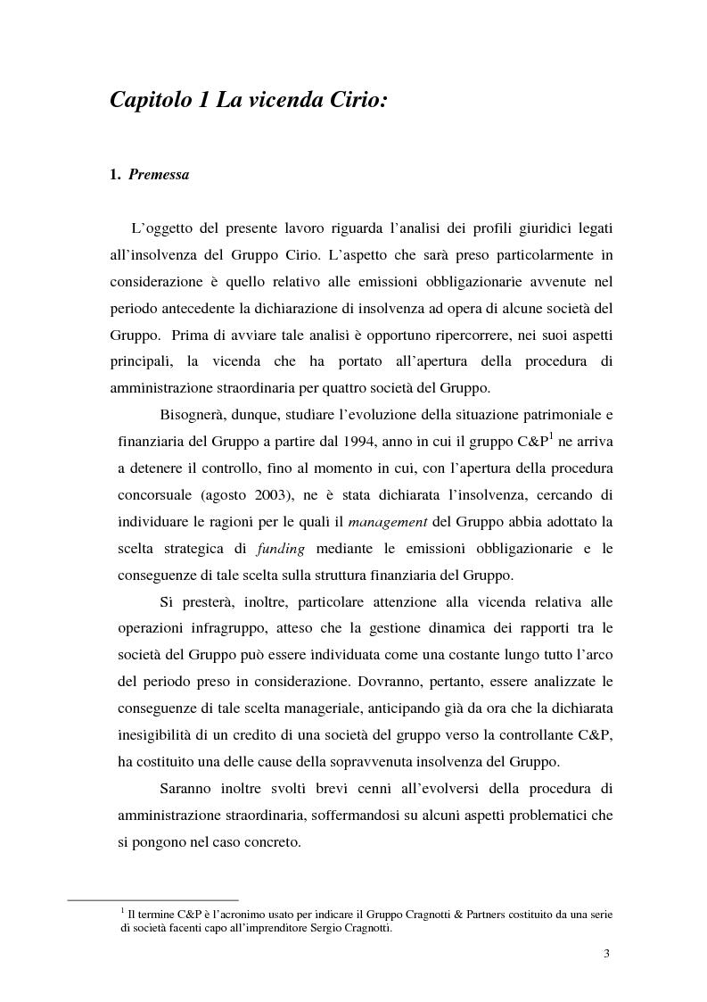 Anteprima della tesi: L'insolvenza del gruppo Cirio: profili giuridici, Pagina 1