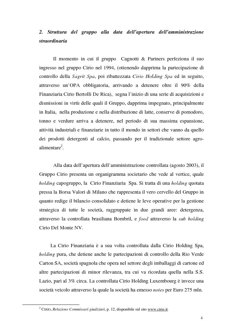 Anteprima della tesi: L'insolvenza del gruppo Cirio: profili giuridici, Pagina 2