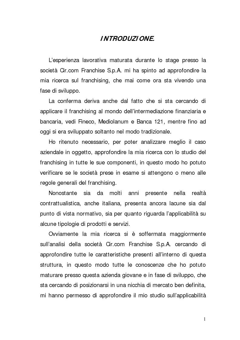 Anteprima della tesi: Verifica di fattibilità di un progetto industriale in franchising. Il caso aziendale CIR.COM Franchises S.p.A., Pagina 1