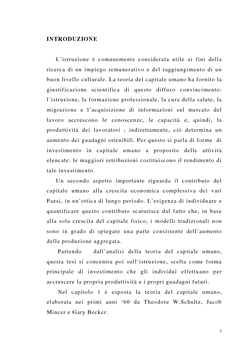 Anteprima della tesi: Teoria del capitale umano e offerta pubblica di istruzione, Pagina 1