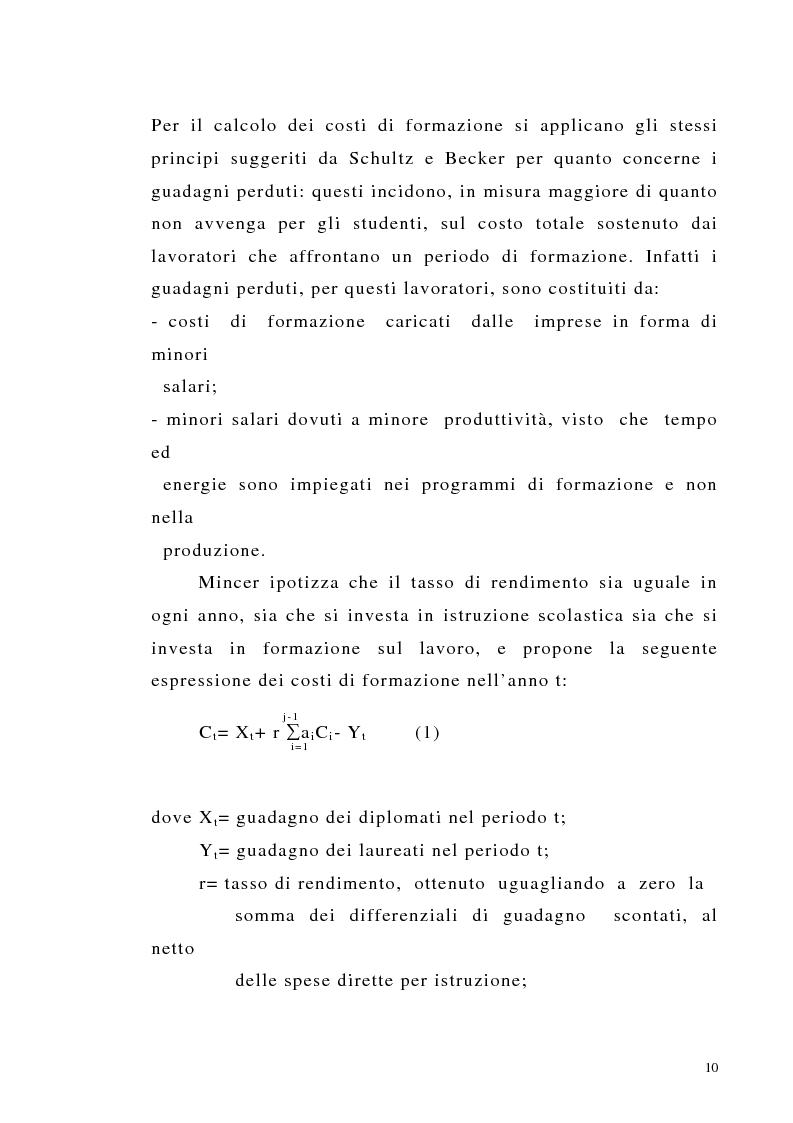 Anteprima della tesi: Teoria del capitale umano e offerta pubblica di istruzione, Pagina 10