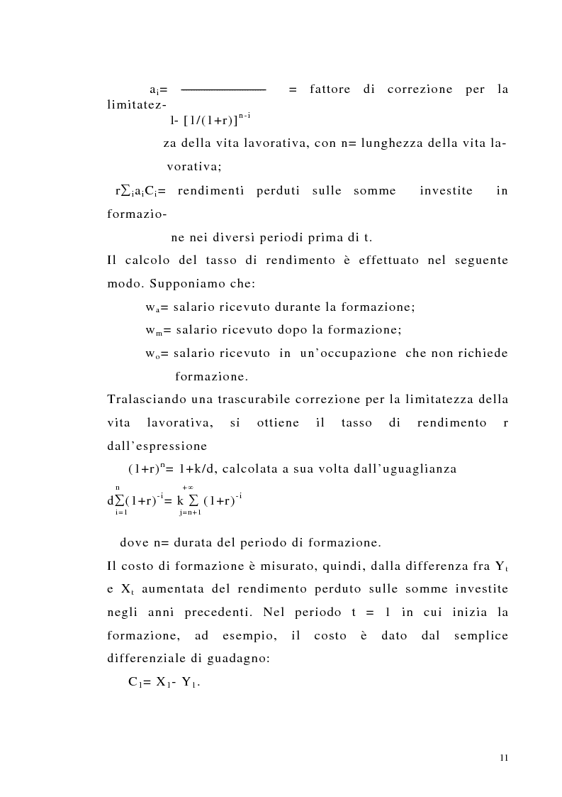 Anteprima della tesi: Teoria del capitale umano e offerta pubblica di istruzione, Pagina 11
