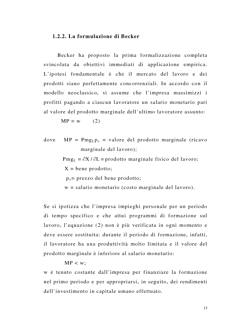 Anteprima della tesi: Teoria del capitale umano e offerta pubblica di istruzione, Pagina 13