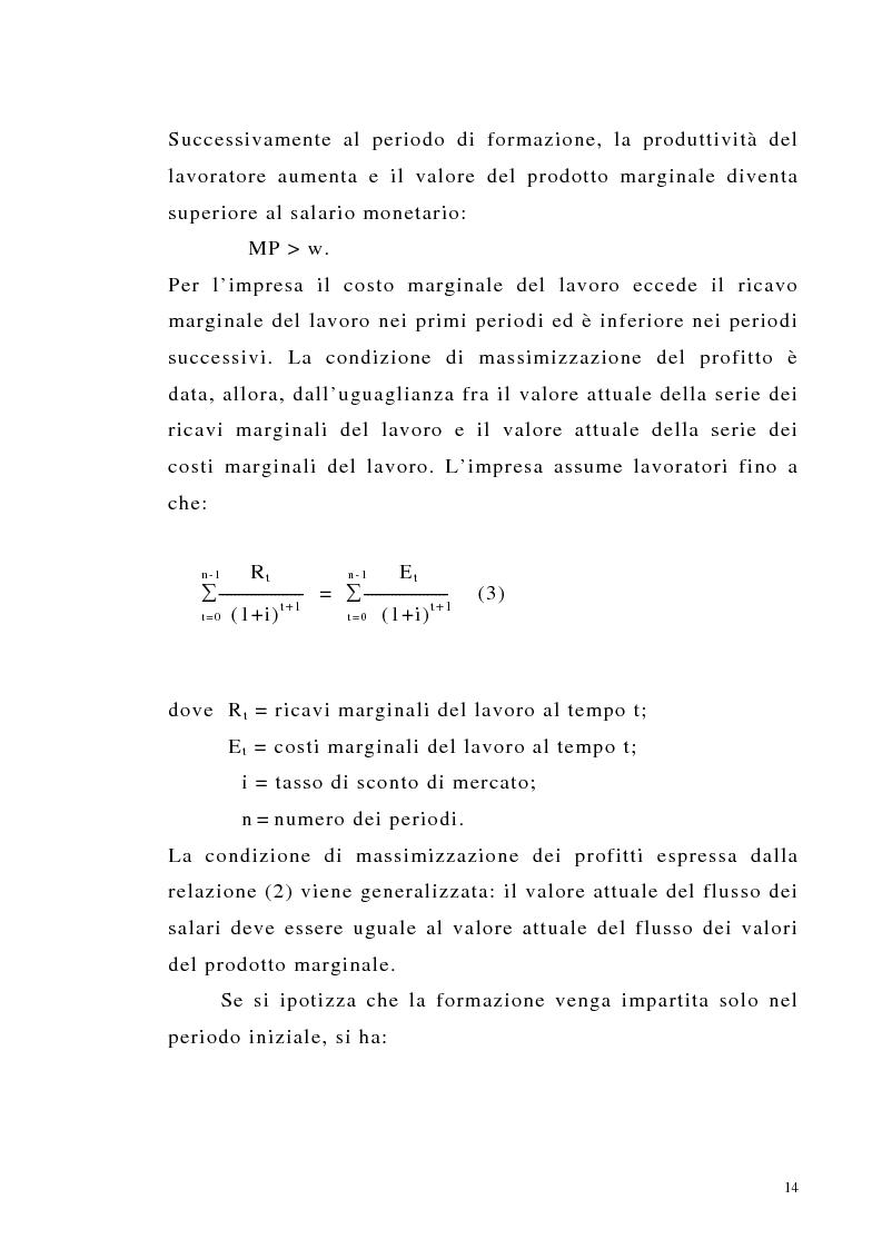 Anteprima della tesi: Teoria del capitale umano e offerta pubblica di istruzione, Pagina 14