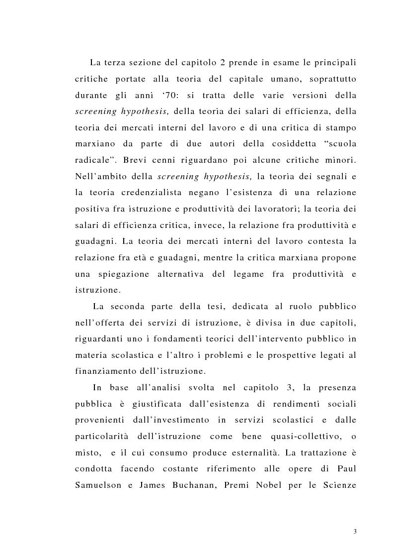 Anteprima della tesi: Teoria del capitale umano e offerta pubblica di istruzione, Pagina 3