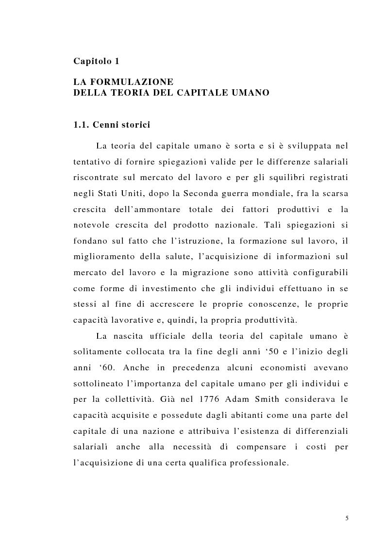 Anteprima della tesi: Teoria del capitale umano e offerta pubblica di istruzione, Pagina 5
