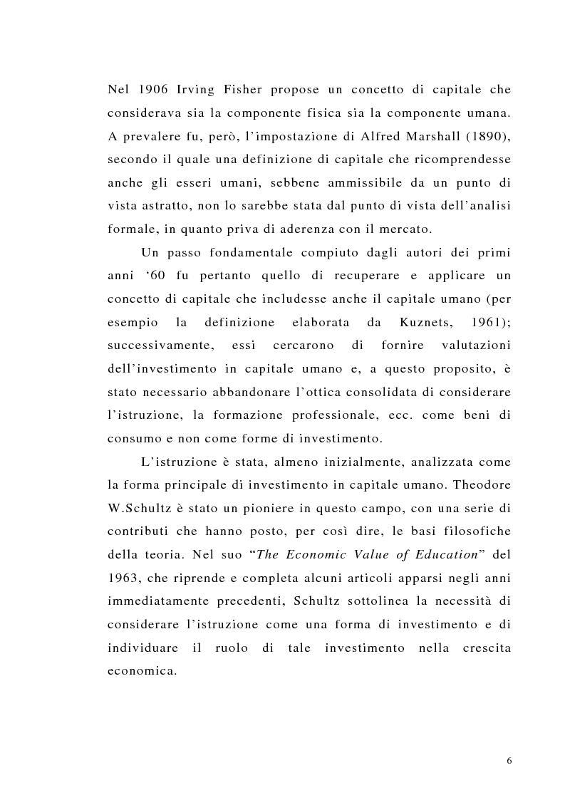 Anteprima della tesi: Teoria del capitale umano e offerta pubblica di istruzione, Pagina 6