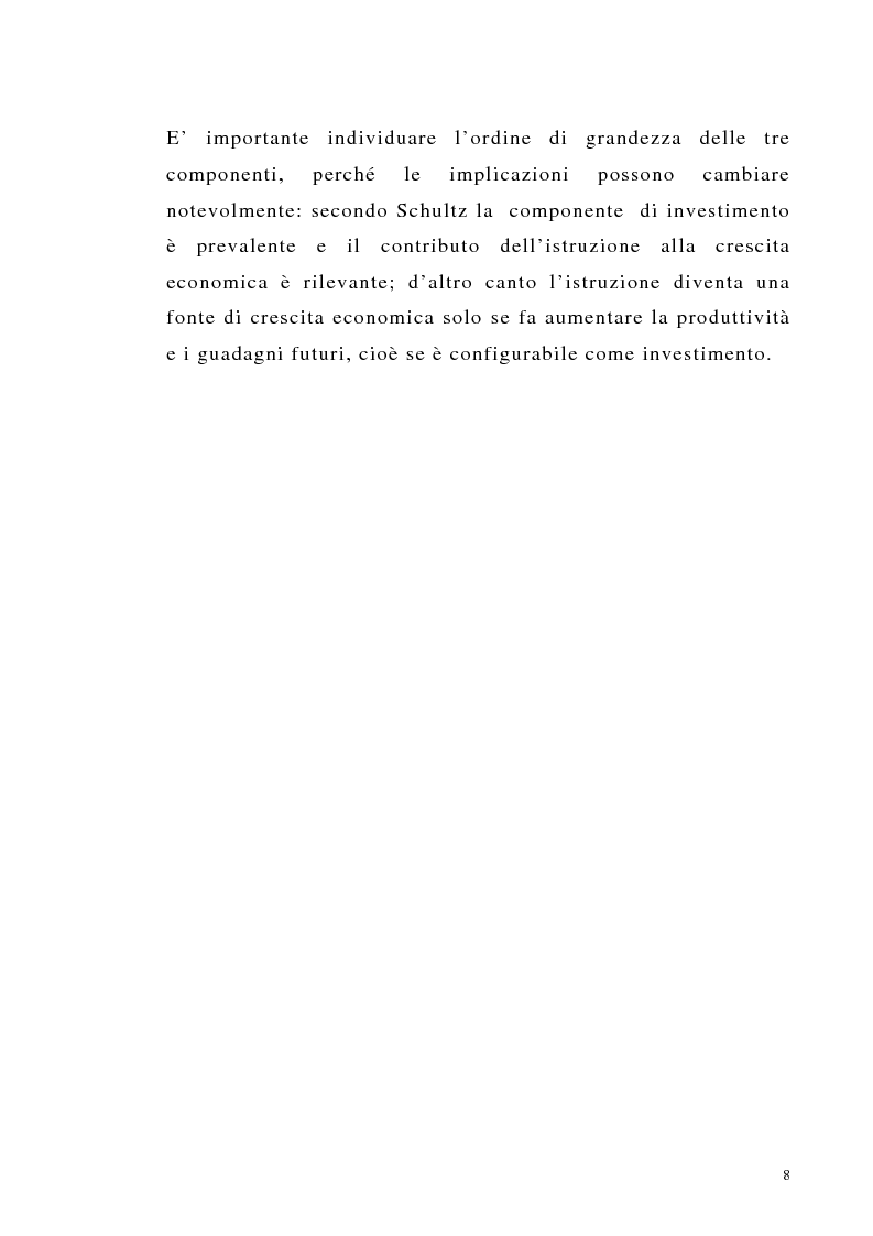 Anteprima della tesi: Teoria del capitale umano e offerta pubblica di istruzione, Pagina 8