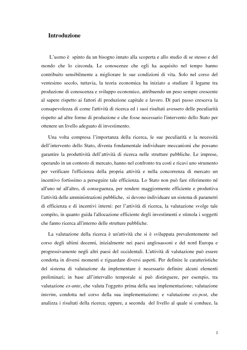 La valutazione della ricerca scientifica - Tesi di Laurea