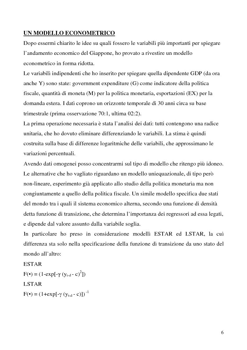 Anteprima della tesi: Le politiche economiche giapponesi negli ultimi trent'anni: un'analisi econometrica, Pagina 6