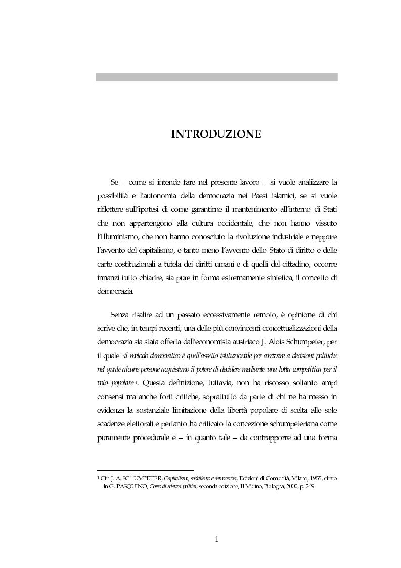Anteprima della tesi: Possibilita' ed autonomia della democrazia nei paesi islamici, Pagina 1