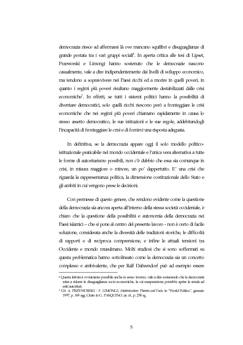 Anteprima della tesi: Possibilita' ed autonomia della democrazia nei paesi islamici, Pagina 5