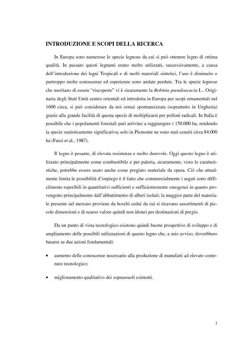 Anteprima della tesi: Prove di incollaggio per legno lamellare di Robinia Pseudoacacia L. destinato all'impiego in ambiente esterno, Pagina 1