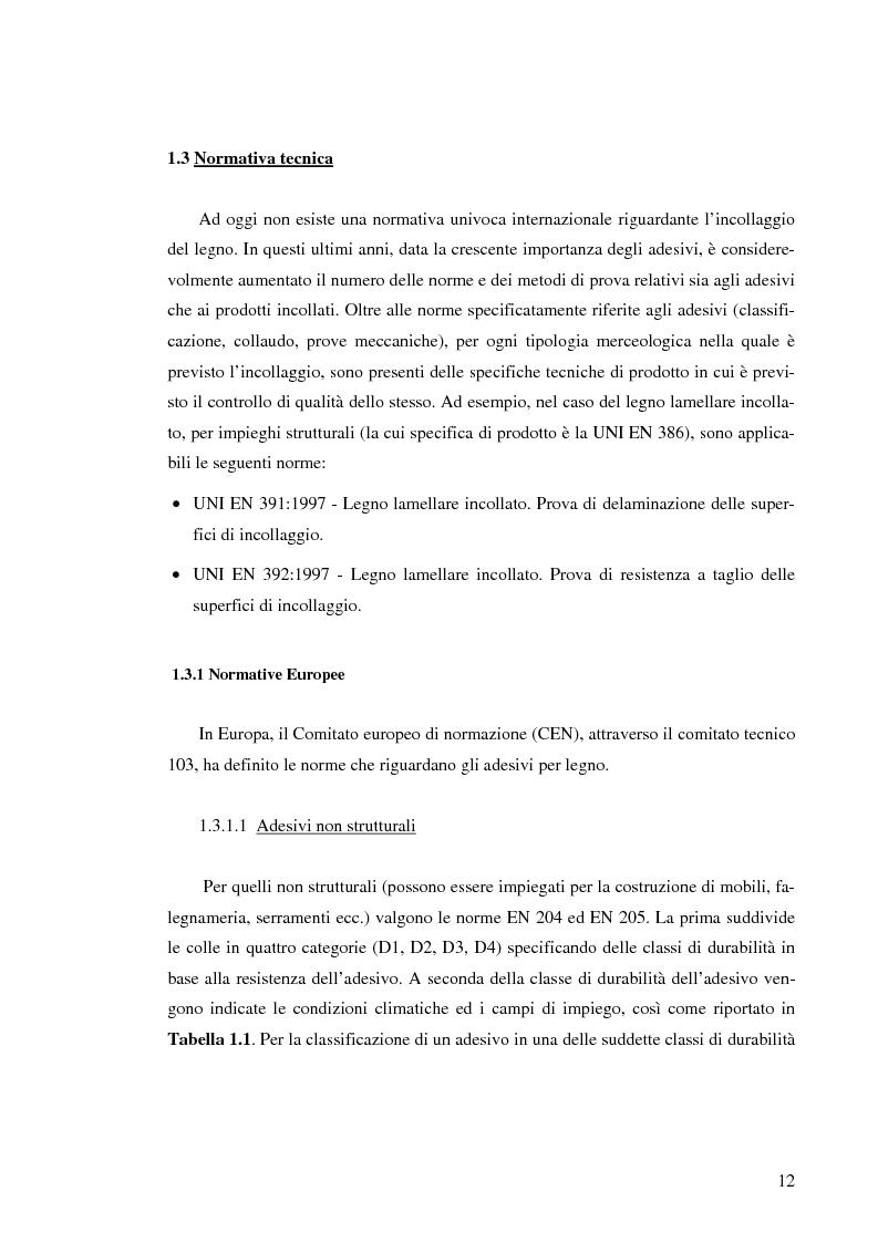 Anteprima della tesi: Prove di incollaggio per legno lamellare di Robinia Pseudoacacia L. destinato all'impiego in ambiente esterno, Pagina 12