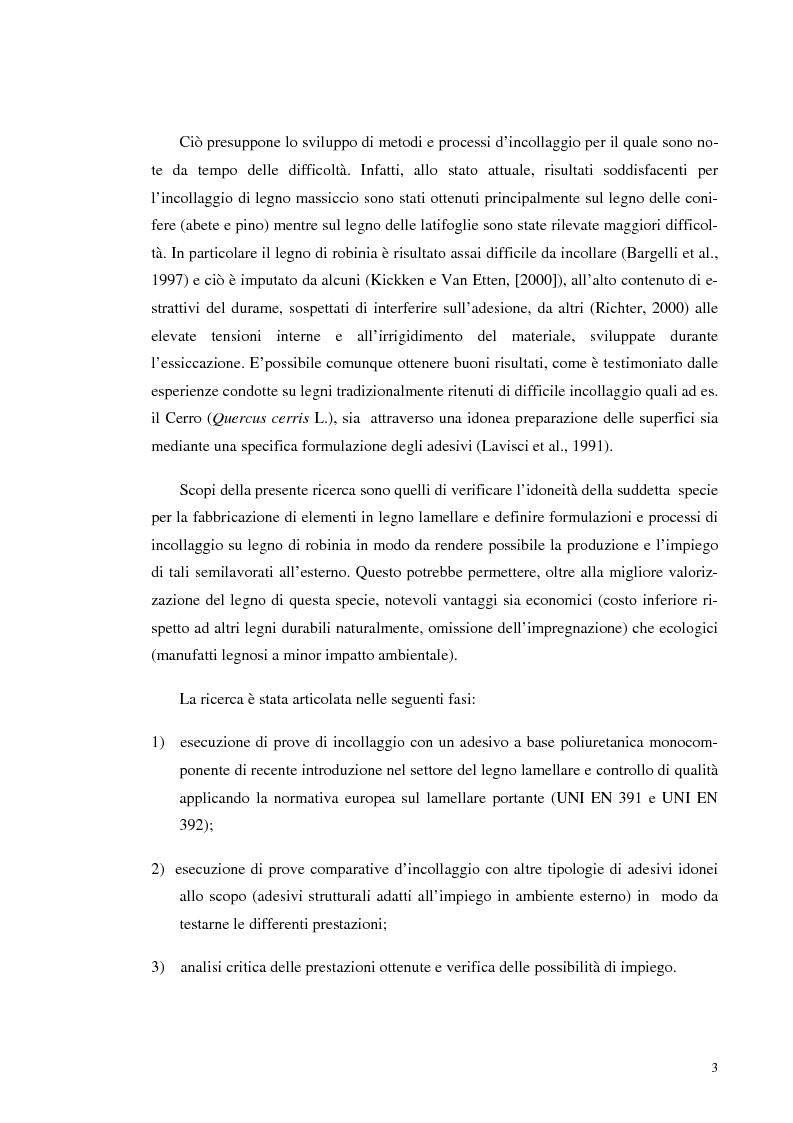 Anteprima della tesi: Prove di incollaggio per legno lamellare di Robinia Pseudoacacia L. destinato all'impiego in ambiente esterno, Pagina 3