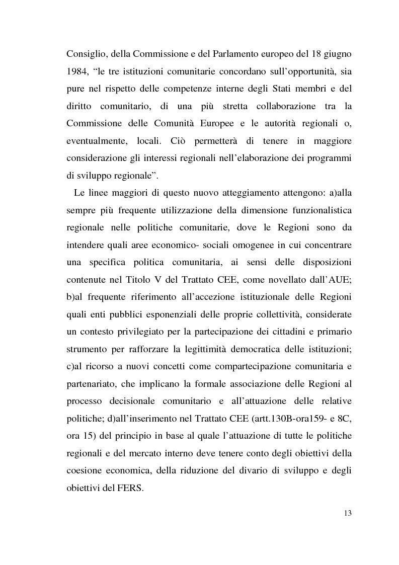 Anteprima della tesi: Diritto dell'Unione Europea: il ruolo delle Regioni nell'ambito comunitario, Pagina 9