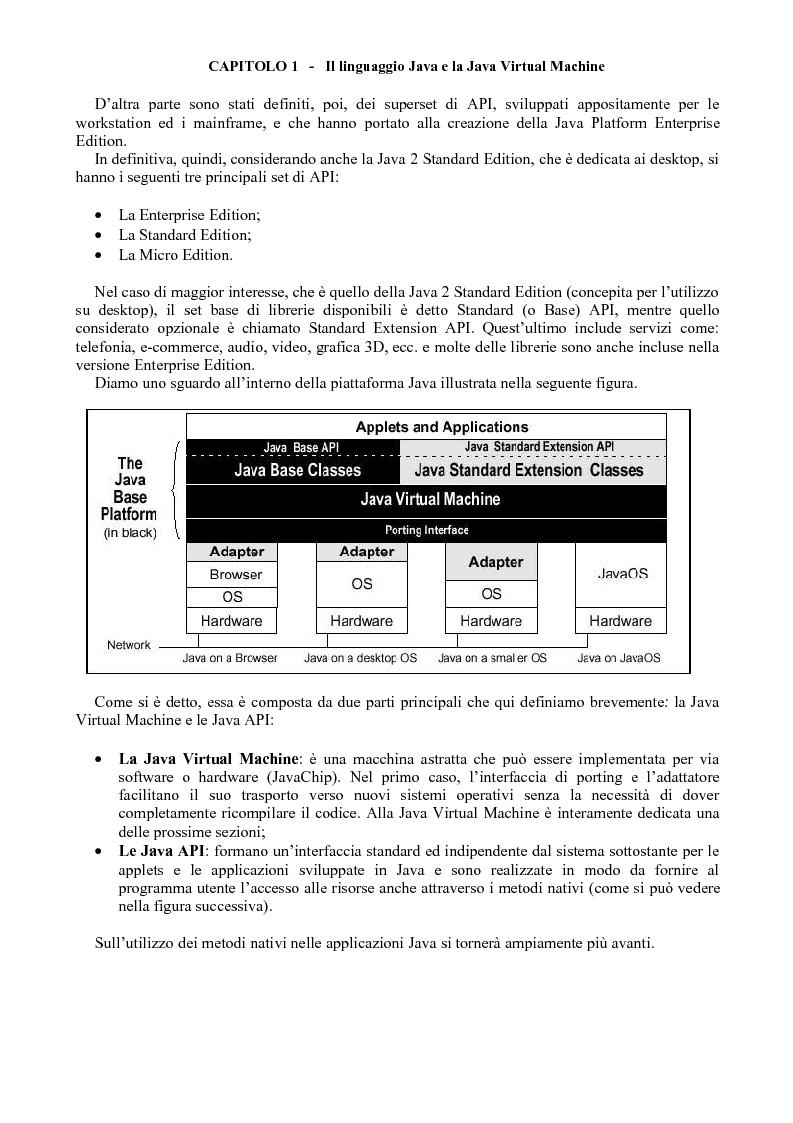 Anteprima della tesi: Sviluppo di software Java ad alte prestazioni e realizzazione di una suite di benchmarks per J2ME e J2SE orientati al DSP, Pagina 3