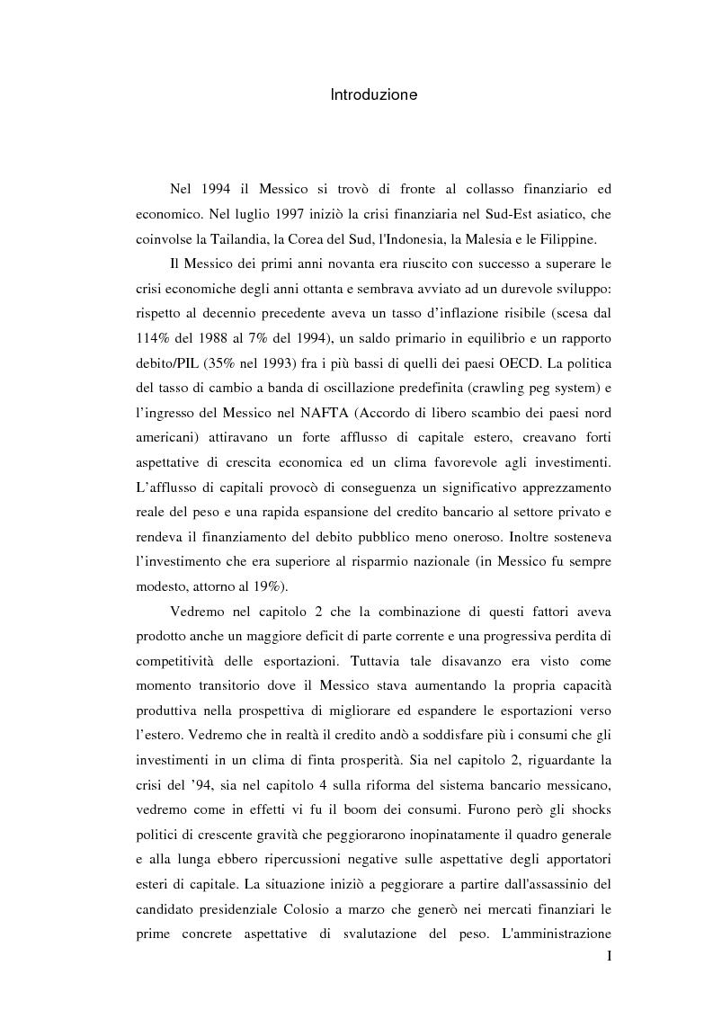 Anteprima della tesi: Il crollo del peso messicano e cenni sulla crisi asiatica, Pagina 1