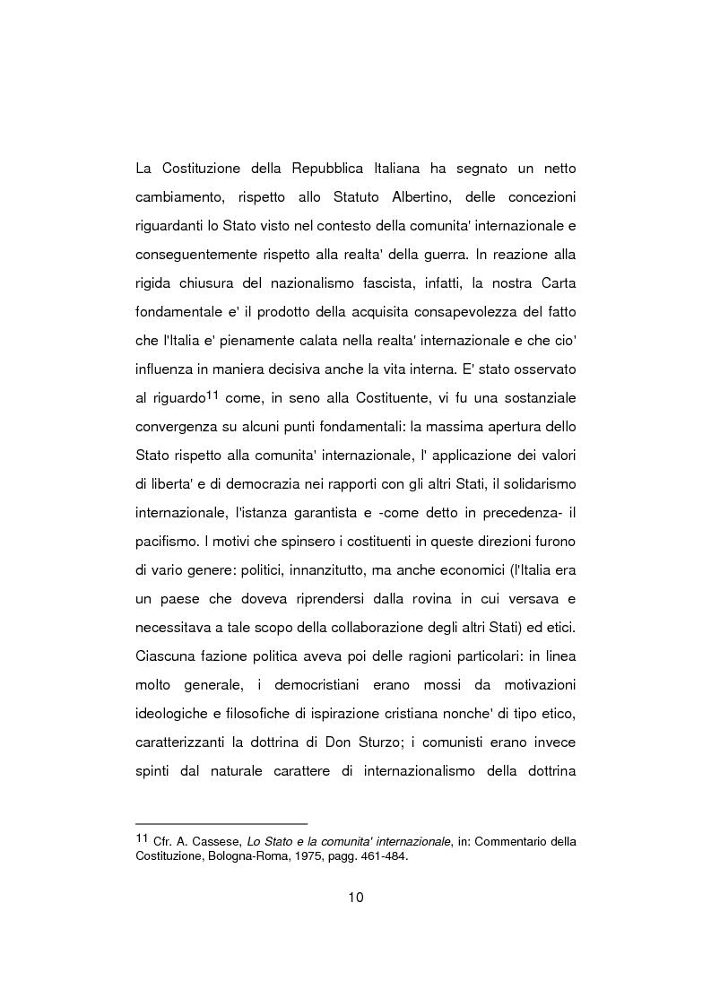 Anteprima della tesi: Aspetti problematici della normativa costituzionale sullo stato di guerra, Pagina 10