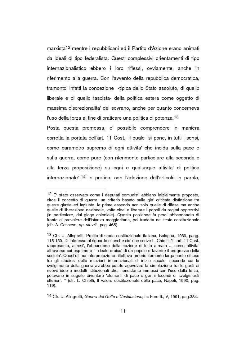 Anteprima della tesi: Aspetti problematici della normativa costituzionale sullo stato di guerra, Pagina 11