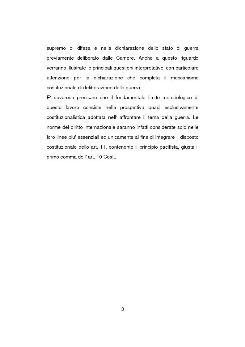 Anteprima della tesi: Aspetti problematici della normativa costituzionale sullo stato di guerra, Pagina 3