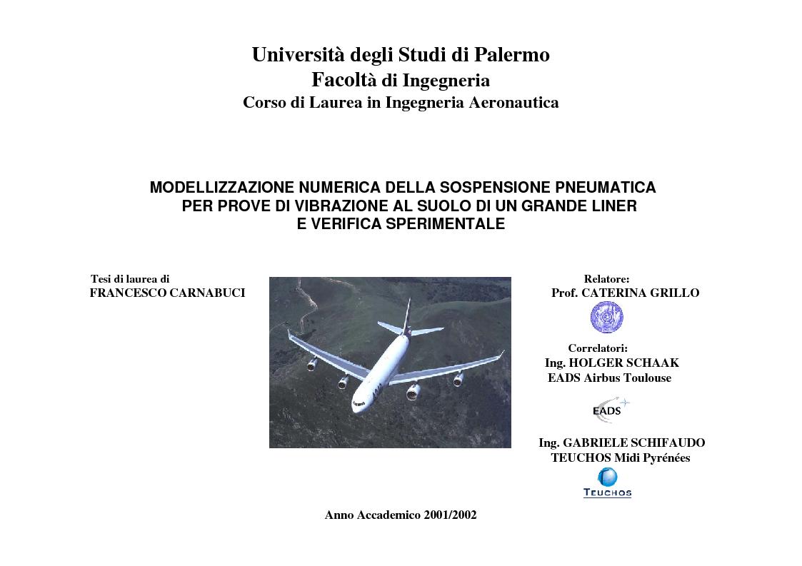 Anteprima della tesi: Modellizzazione Numerica e Verifica Sperimentale della Sospensione Pneumatica per Prove di Vibrazione al Suolo di un Grande Liner, Pagina 1