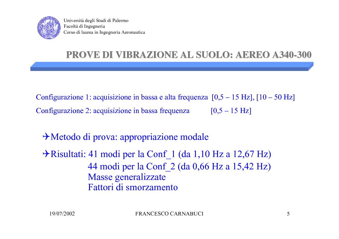 Anteprima della tesi: Modellizzazione Numerica e Verifica Sperimentale della Sospensione Pneumatica per Prove di Vibrazione al Suolo di un Grande Liner, Pagina 5