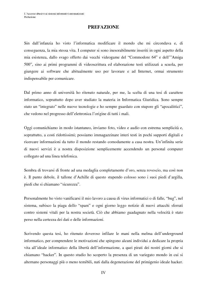 L'accesso abusivo ai sistemi informativi automatizzati - Tesi di Laurea
