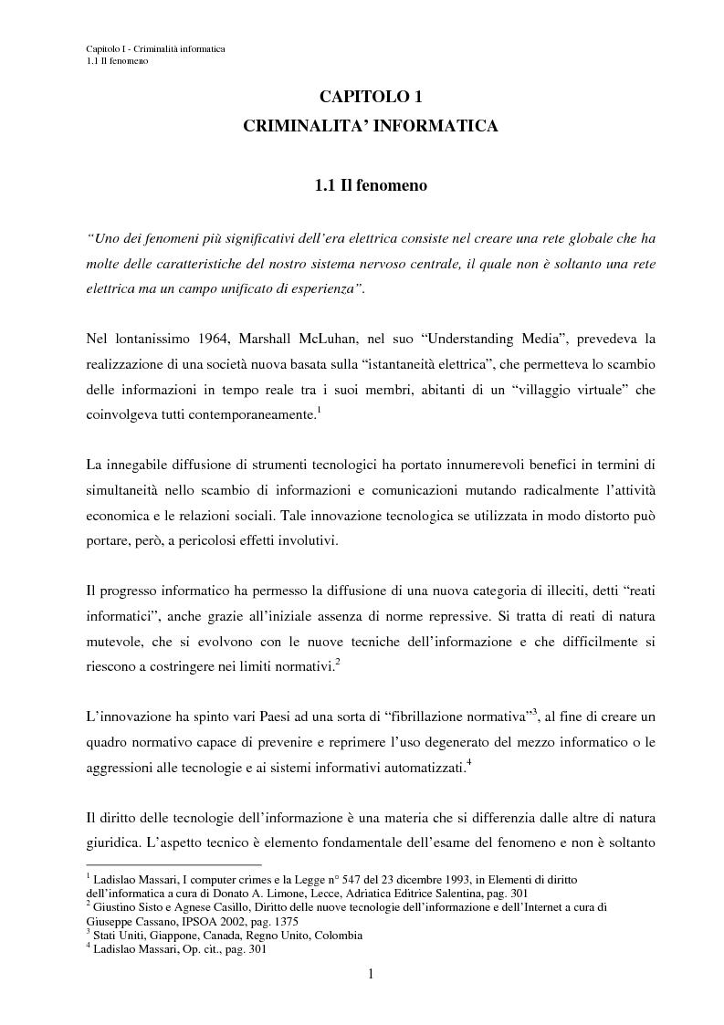 Anteprima della tesi: L'accesso abusivo ai sistemi informativi automatizzati, Pagina 4