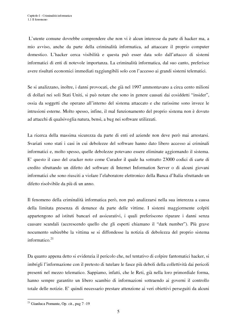 Anteprima della tesi: L'accesso abusivo ai sistemi informativi automatizzati, Pagina 8