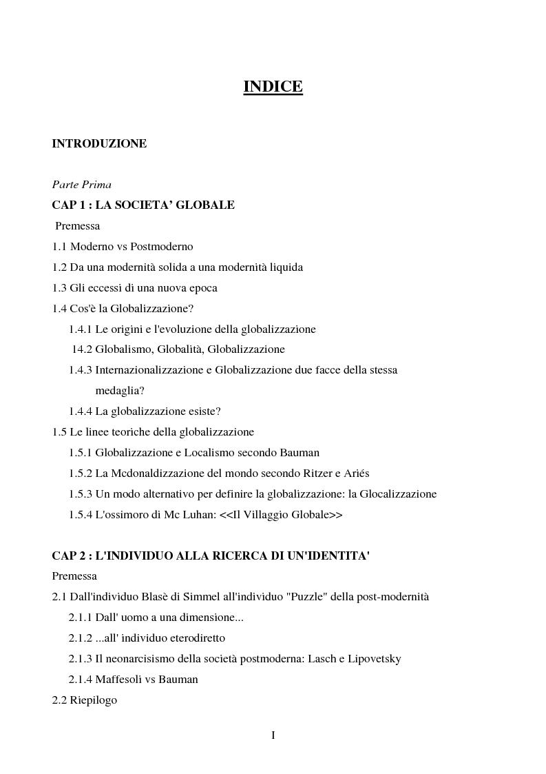 Indice della tesi: I luoghi di consumo nella società globale, Pagina 1