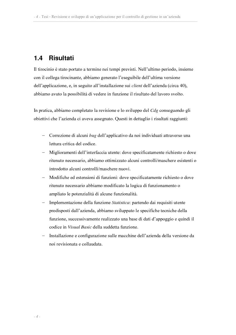 Anteprima della tesi: Revisione e sviluppo di un'applicazione per il controllo di gestione di un'azienda, Pagina 4