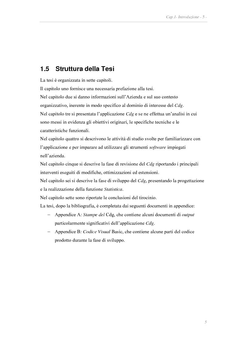 Anteprima della tesi: Revisione e sviluppo di un'applicazione per il controllo di gestione di un'azienda, Pagina 5