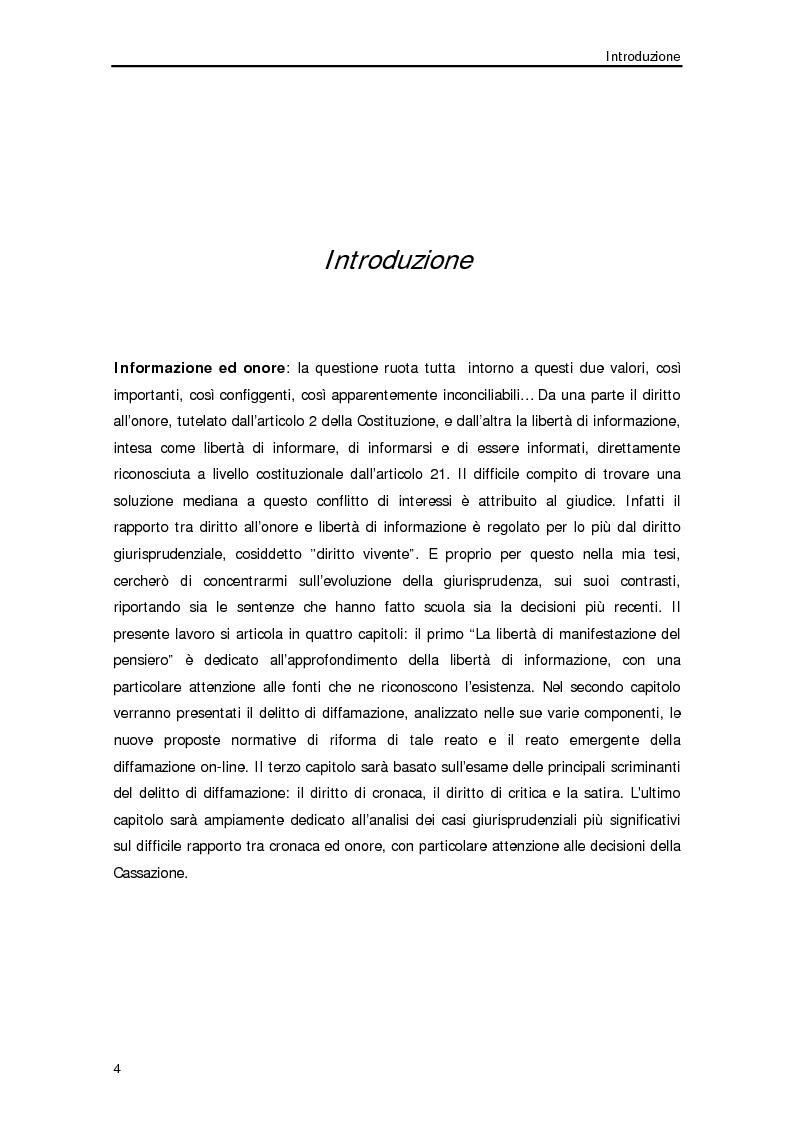 Anteprima della tesi: Diffamazione a mezzo stampa e diritto di cronaca, Pagina 1