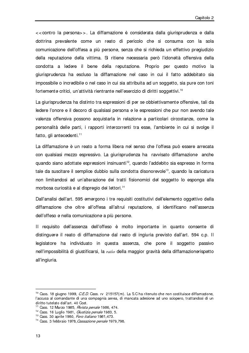 Anteprima della tesi: Diffamazione a mezzo stampa e diritto di cronaca, Pagina 10