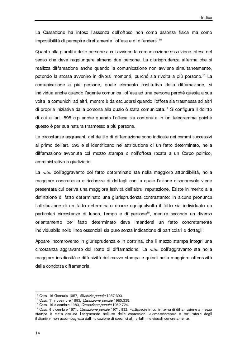 Anteprima della tesi: Diffamazione a mezzo stampa e diritto di cronaca, Pagina 11
