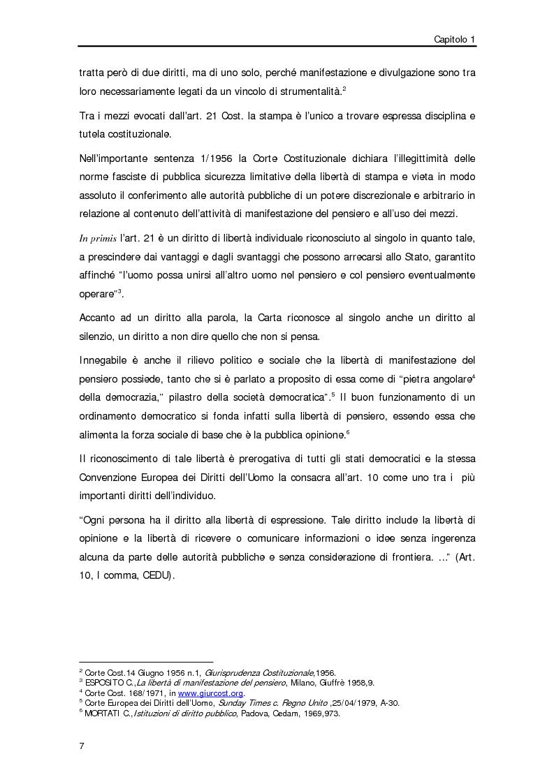 Anteprima della tesi: Diffamazione a mezzo stampa e diritto di cronaca, Pagina 4