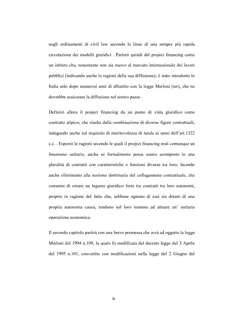 Anteprima della tesi: Il diritto di prelazione nel project financing alla luce delle previoni della L.166/02, Pagina 2