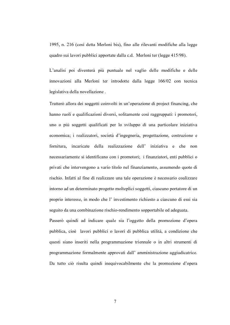Anteprima della tesi: Il diritto di prelazione nel project financing alla luce delle previoni della L.166/02, Pagina 3