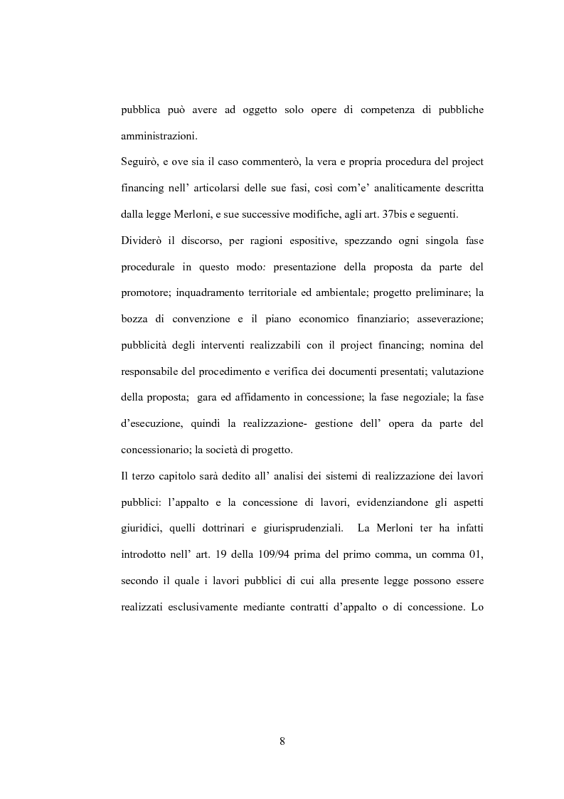 Anteprima della tesi: Il diritto di prelazione nel project financing alla luce delle previoni della L.166/02, Pagina 4
