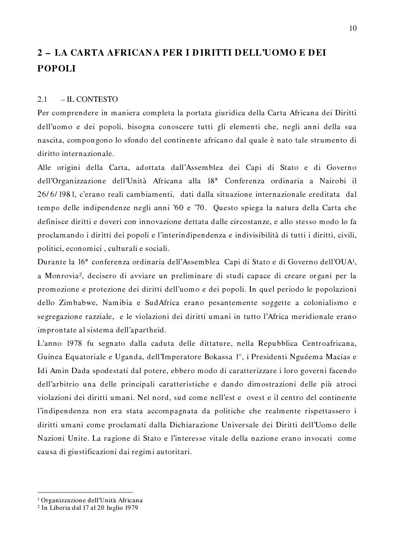 Anteprima della tesi: Per un modello africano di garanzie dei diritti dell'uomo - Lineamenti del recente sviluppo dei diritti umani in Africa Occidentale Subsahariana, Pagina 4