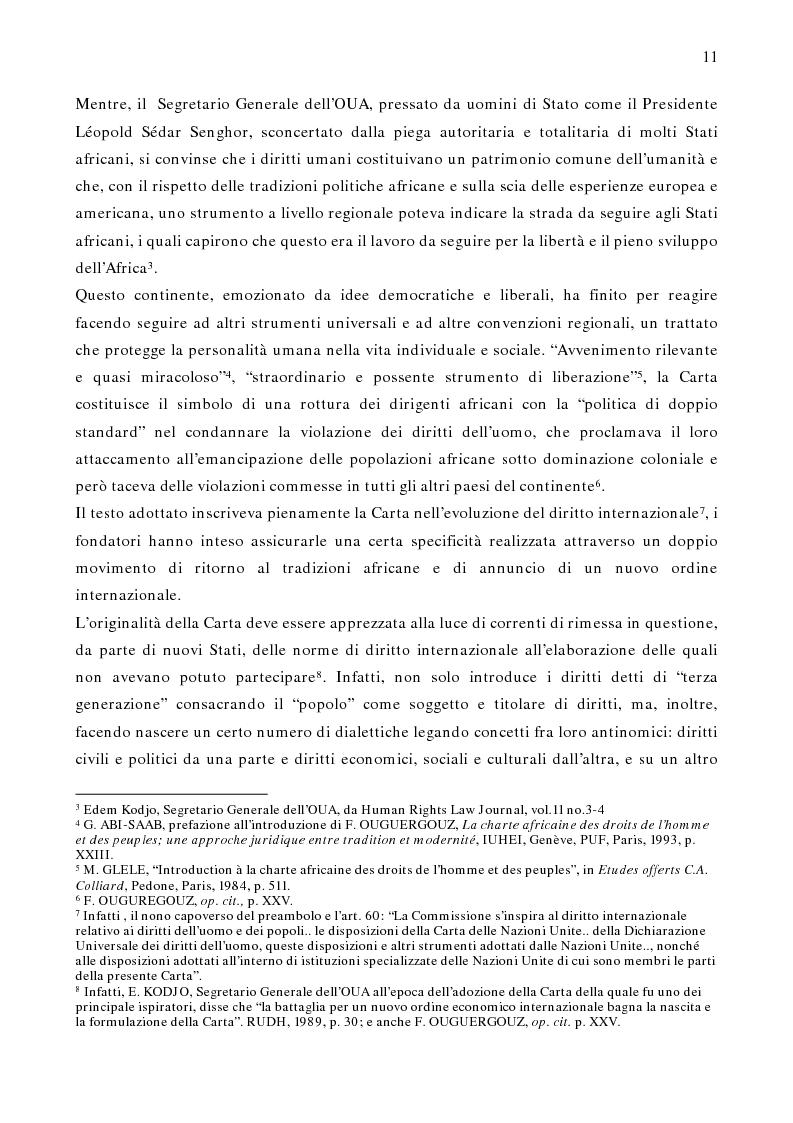 Anteprima della tesi: Per un modello africano di garanzie dei diritti dell'uomo - Lineamenti del recente sviluppo dei diritti umani in Africa Occidentale Subsahariana, Pagina 5